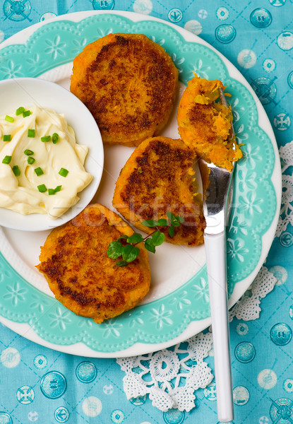 carrot fritters with mayonese sauce Stock photo © zoryanchik