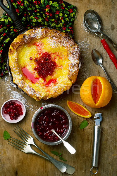 Dutch Baby with Cranberry Orange Compote Stock photo © zoryanchik