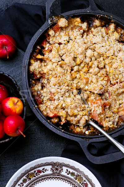 apple cramble with oat flakes Stock photo © zoryanchik