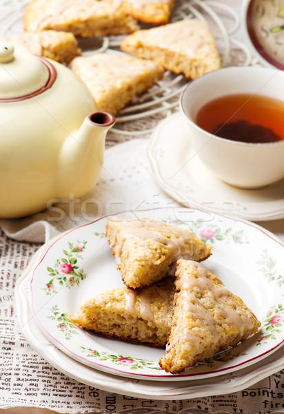 Banán fahéj krém sajt étel reggeli Stock fotó © zoryanchik