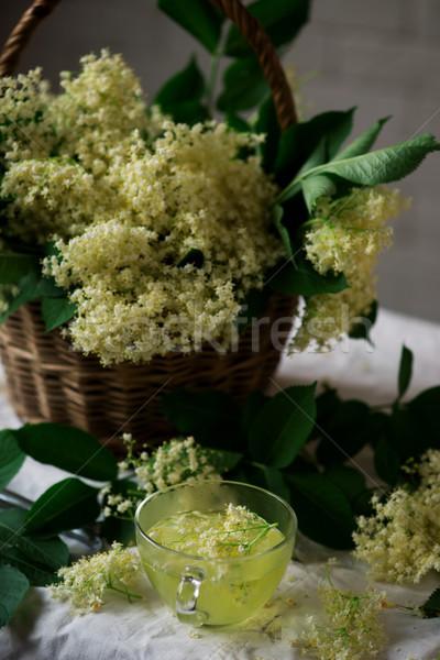 Elderflower tea. style vintage. Stock photo © zoryanchik
