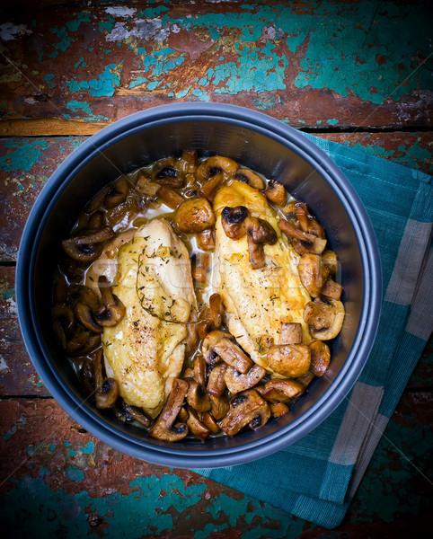 Pechuga de pollo setas alimentos casa pollo cena Foto stock © zoryanchik