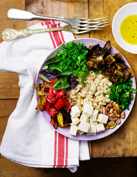 pearl barley with grilled vegetables and feta.  Stock photo © zoryanchik