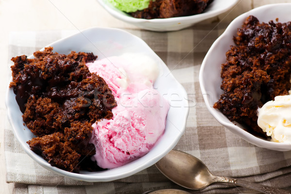 Hot Fudge Pudding Cake with ice cream  Stock photo © zoryanchik