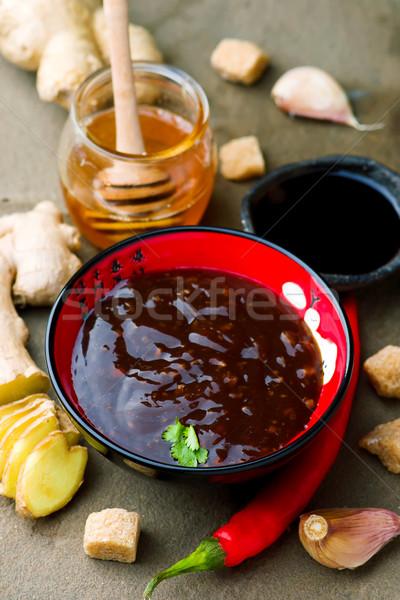 терияки традиционный Японский соус избирательный подход черный Сток-фото © zoryanchik