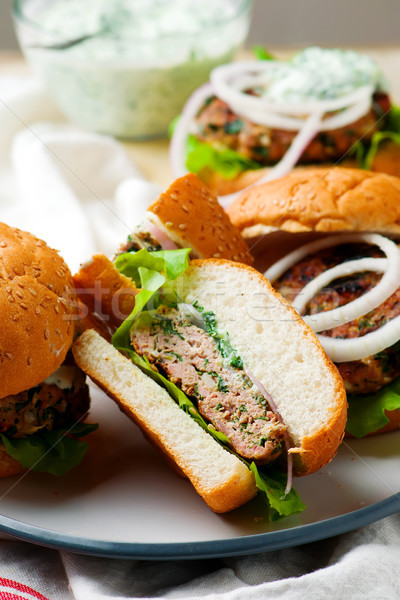 greek turkey burgers tzatziki sauce. Stock photo © zoryanchik