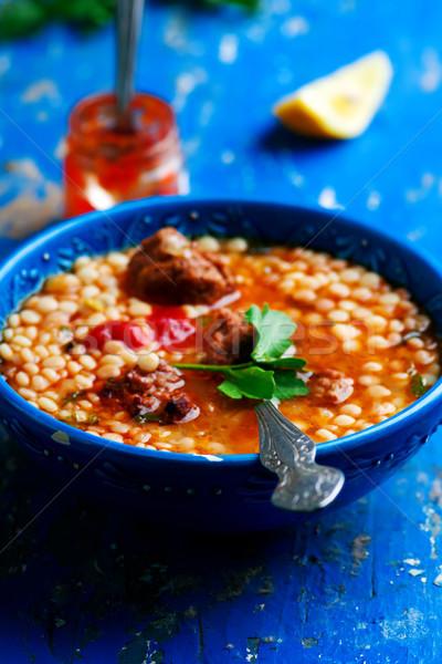 moroccan meatball couscous soup. Stock photo © zoryanchik