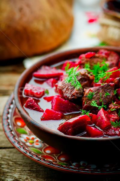 Carne prato tradicional cozinha estilo rústico Foto stock © zoryanchik