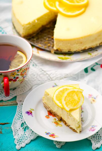 Сток-фото: лимона · чизкейк · ломтик · избирательный · подход · сыра · десерта