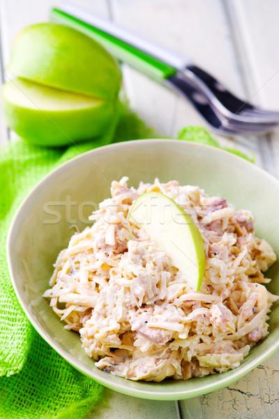 fish and mayonnaise salad. selective focus Stock photo © zoryanchik