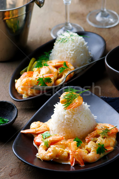 Sauteed Shrimp in White Wine Stock photo © zoryanchik
