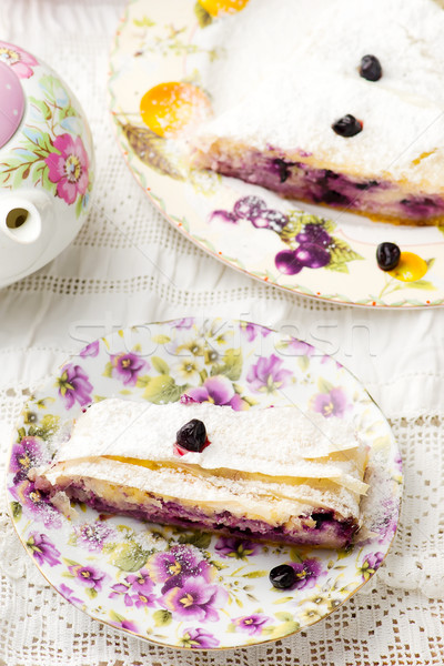 Cottage cheese and blueberry strudel..selective focus.  Stock photo © zoryanchik