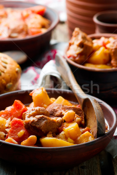 Hungarian Cholent Slow Cooker Beef-Stew.rustic style. Stock photo © zoryanchik