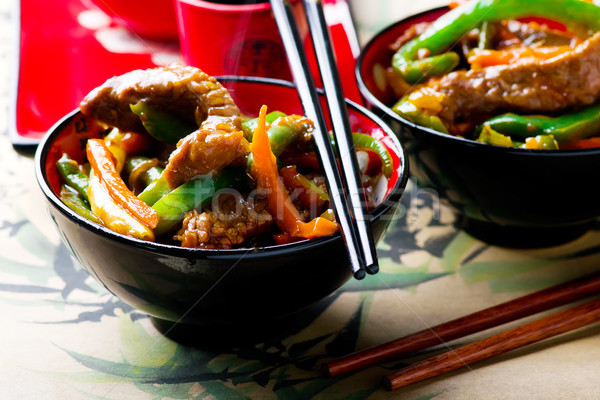 Ginger-Flavored Beef and Vegetable Stir-Fry Stock photo © zoryanchik