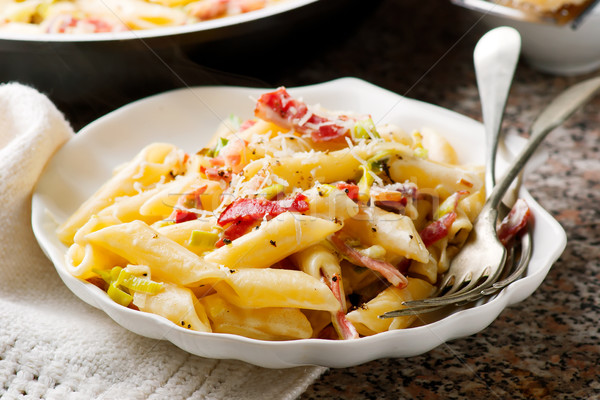 Penne with Leeks and Speck Stock photo © zoryanchik