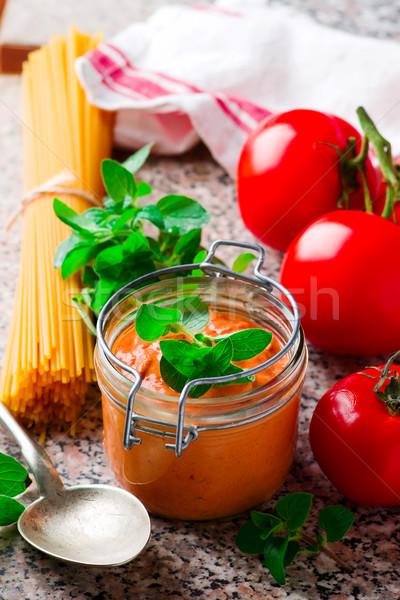 Rosy-red Pasta Sauce..selective focus Stock photo © zoryanchik