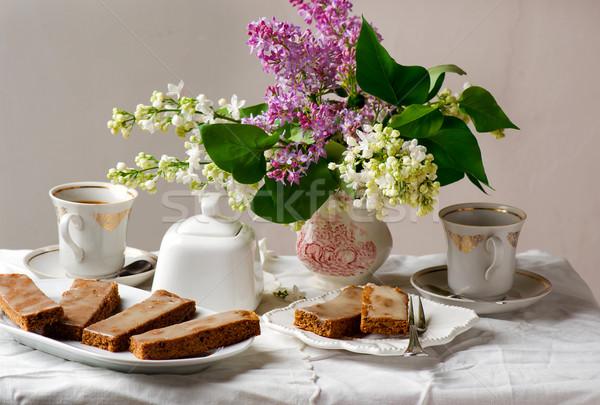 Café vintage comida torta creme doce Foto stock © zoryanchik
