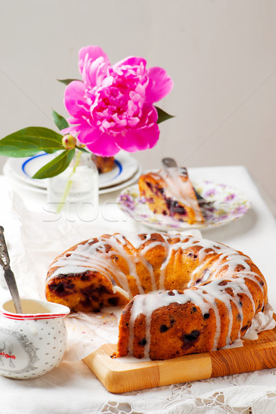 Banana and blueberry bread.style vintage Stock photo © zoryanchik