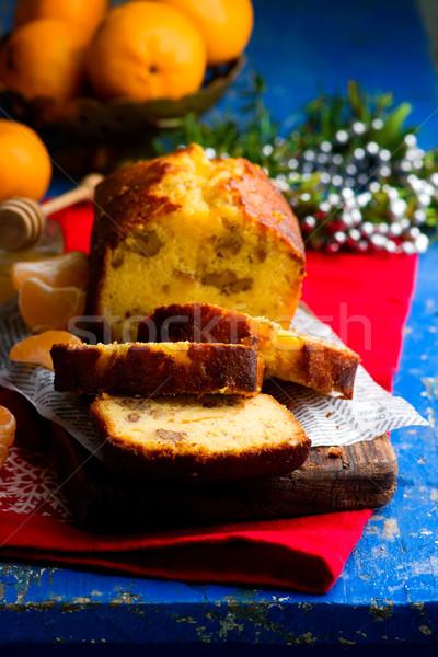 Tangerine Honey Walnut Cake. Stock photo © zoryanchik