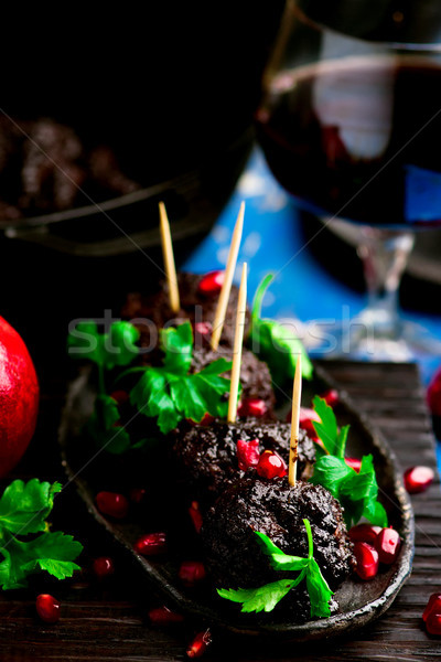 moroccan meatballs with pomegranate glaze.style rustic Stock photo © zoryanchik