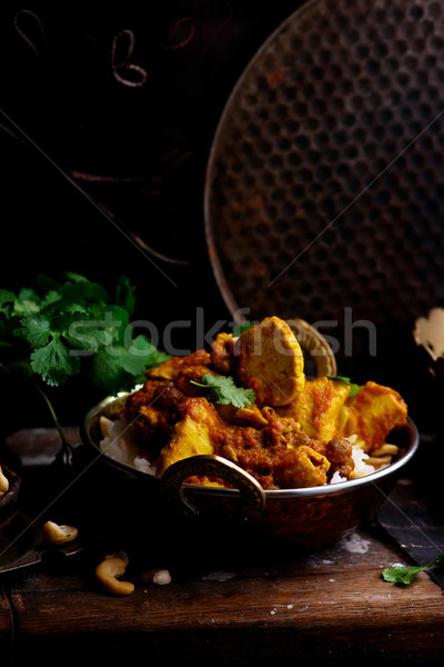 Abóbora caril frango caju arroz foco Foto stock © zoryanchik