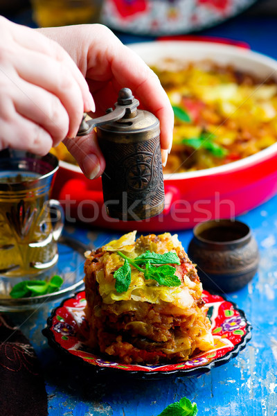 turkish cabbage casserole with minced meat Stock photo © zoryanchik