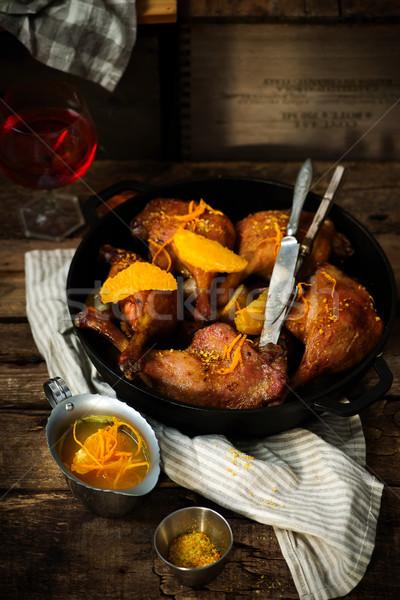 Lassú kacsa rusztikus bor konyha vacsora Stock fotó © zoryanchik