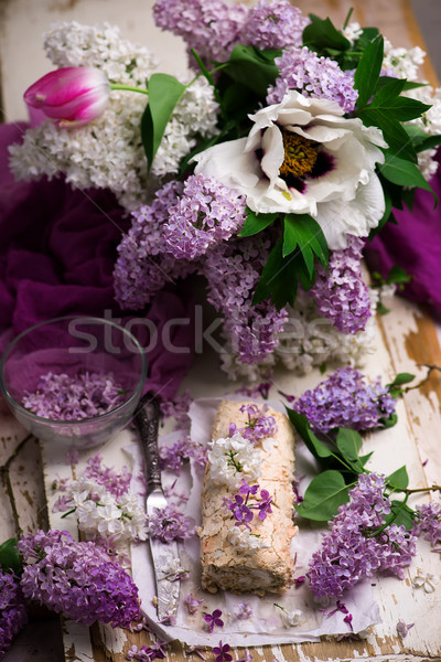 Lilac merengue rullade..Style vintage Stock photo © zoryanchik
