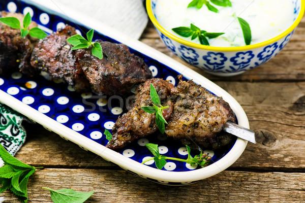 Yoğurt sos Yunan mutfak stil rustik Stok fotoğraf © zoryanchik