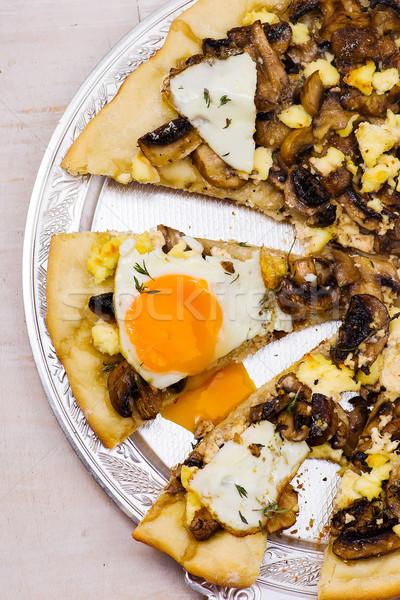 пиццы гриб избирательный подход таблице сыра обеда Сток-фото © zoryanchik