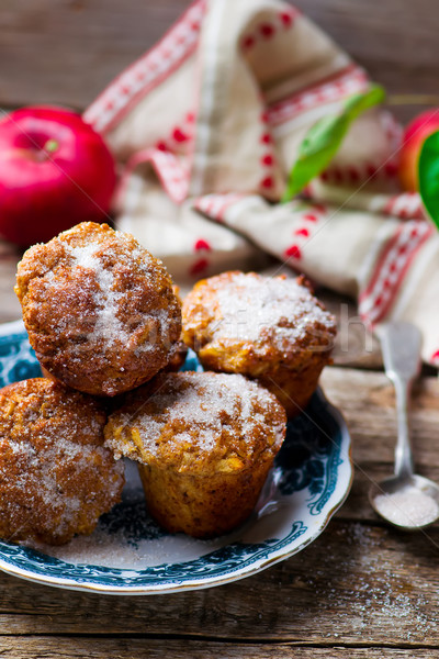 Stock photo: muffins with apples and oat flakes