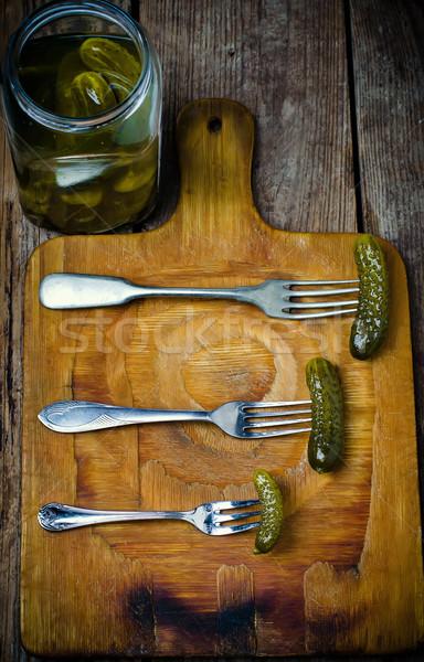 Stockfoto: Komkommers · vork · stijl · rustiek · selectieve · aandacht