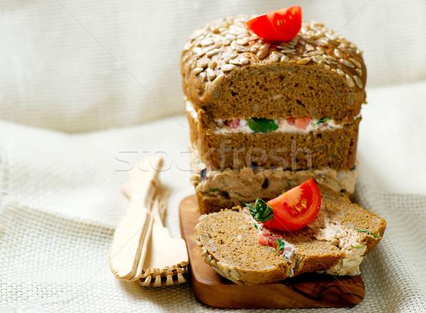Sandviçler ekmek ton balığı stil bağbozumu seçici odak Stok fotoğraf © zoryanchik