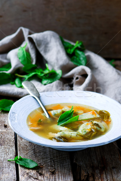 Soup with a sorrel. Selective focus. Stock photo © zoryanchik