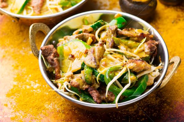 Disznóhús szelektív fókusz indiai ebéd étel tál Stock fotó © zoryanchik