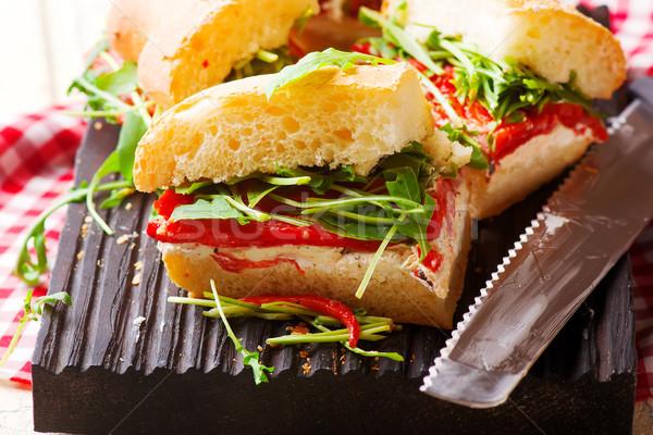 focaccia roasted red pepper arugula sandwiches. Stock photo © zoryanchik