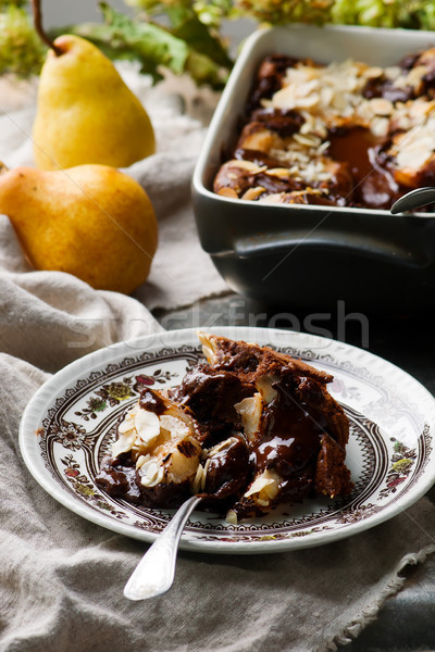 Squidgy chocolate pear pudding Stock photo © zoryanchik