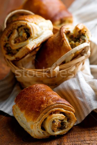 Jaj ciasto śniadanie selektywne focus chleba obiedzie Zdjęcia stock © zoryanchik