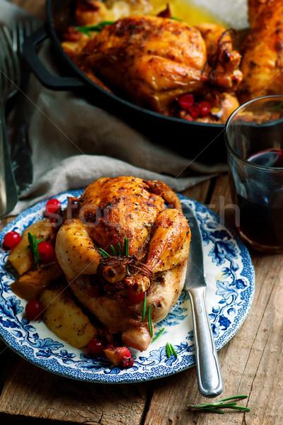 cranberry apple stuffed cornish hens Stock photo © zoryanchik