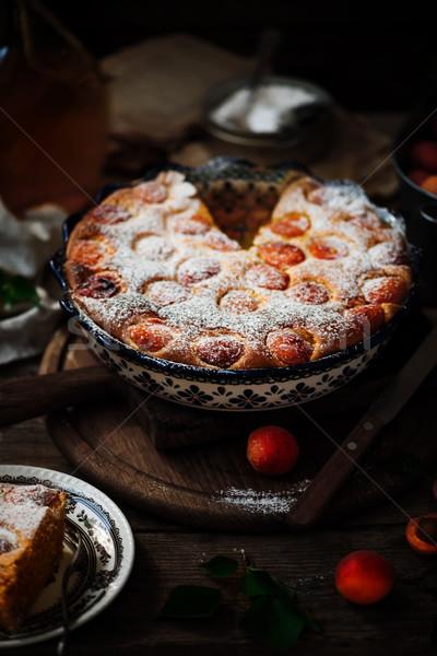 Apricot   soft  cake .Dark rustic photo Stock photo © zoryanchik