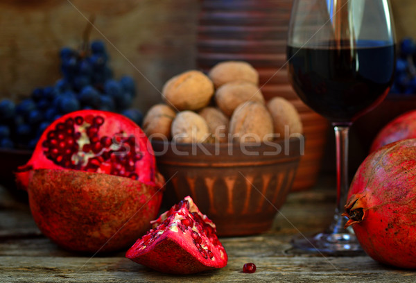 Photo stock: Grenade · verre · vin · bois · alimentaire · design