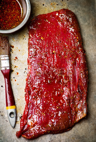 crude flank steak ready for a grill Stock photo © zoryanchik