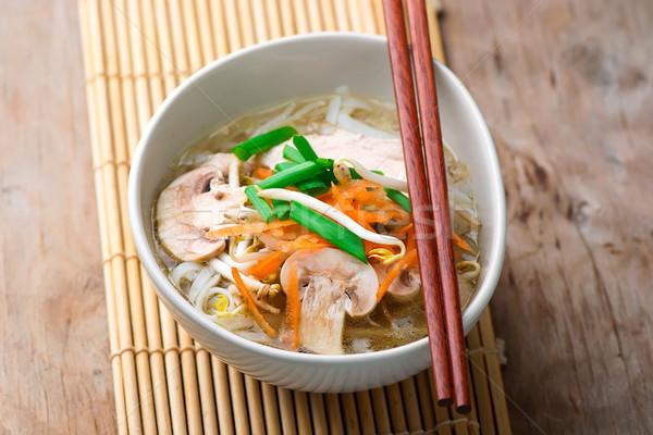 Frango sopa de legumes vegetal jantar chinês Foto stock © zoryanchik
