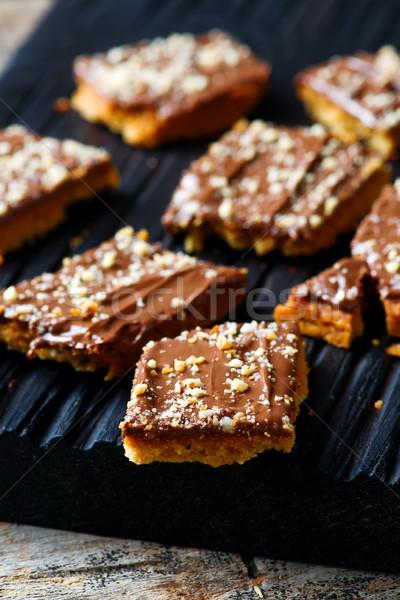 Słodkie cookie cookie brązowy przekąska Zdjęcia stock © zoryanchik