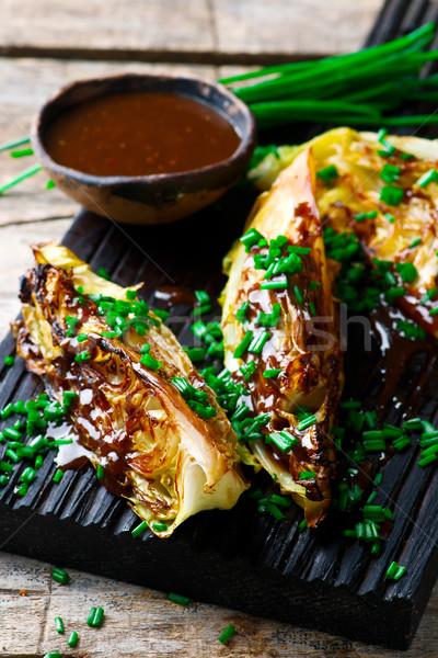 Grillezett káposzta gyömbér öntet barbecue étel Stock fotó © zoryanchik