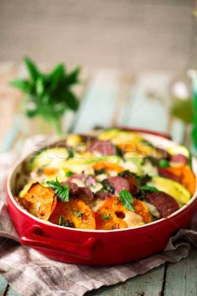 casserole with vegetables and salami .style rustic Stock photo © zoryanchik