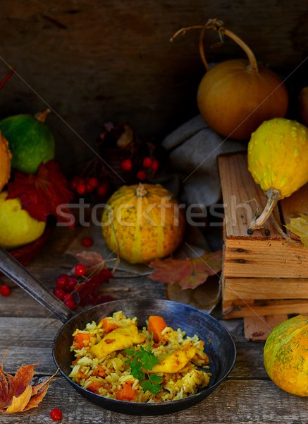 rice curry with fried fish and pumpkin  Stock photo © zoryanchik