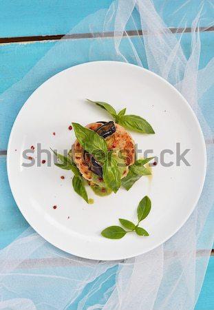 Zöldbab paradicsomok fehér tál felső kilátás Stock fotó © zoryanchik