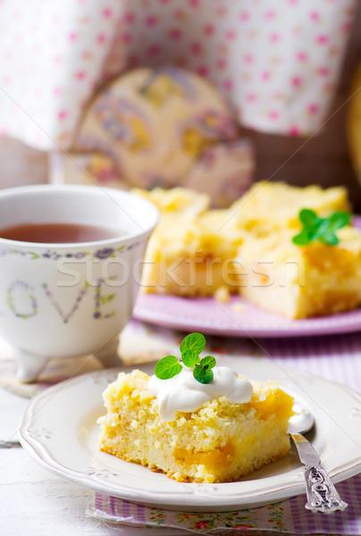 Aszalt sárgabarack puding fehér tányér reggeli Stock fotó © zoryanchik
