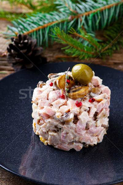 salad with mushrooms and mayonnaise. Stock photo © zoryanchik